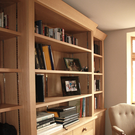 Study with oak bookcases