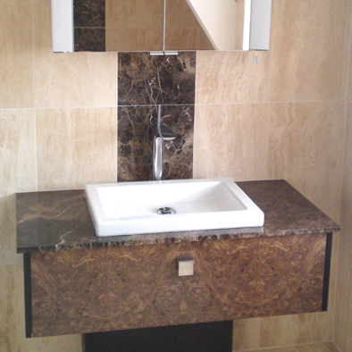 Burr Walnut bathroom vanity unit